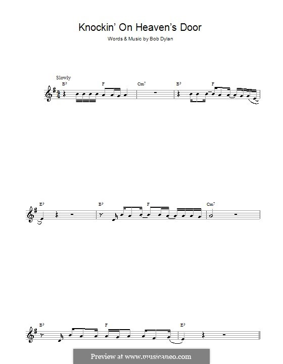 Knockin' on Heaven's Door: For alto saxophone by Bob Dylan