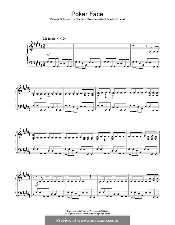 Poker Face (Lady Gaga): For piano by RedOne, Stefani Germanotta