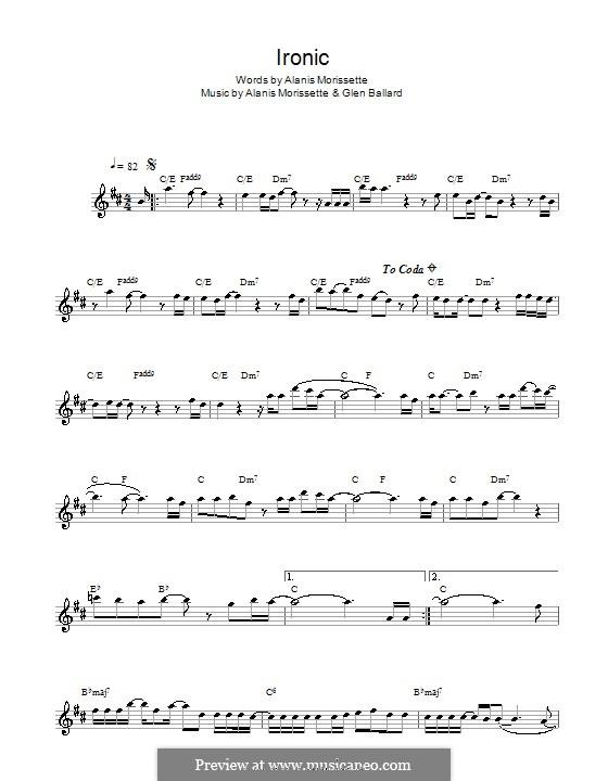 Ironic: For alto saxophone by Alanis Morissette, Glen Ballard