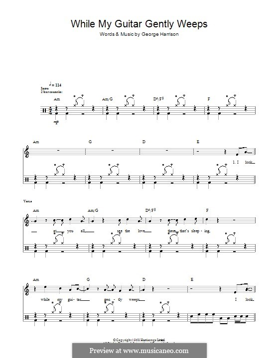 While My Guitar Gently Weeps (The Beatles): For drums by George Harrison
