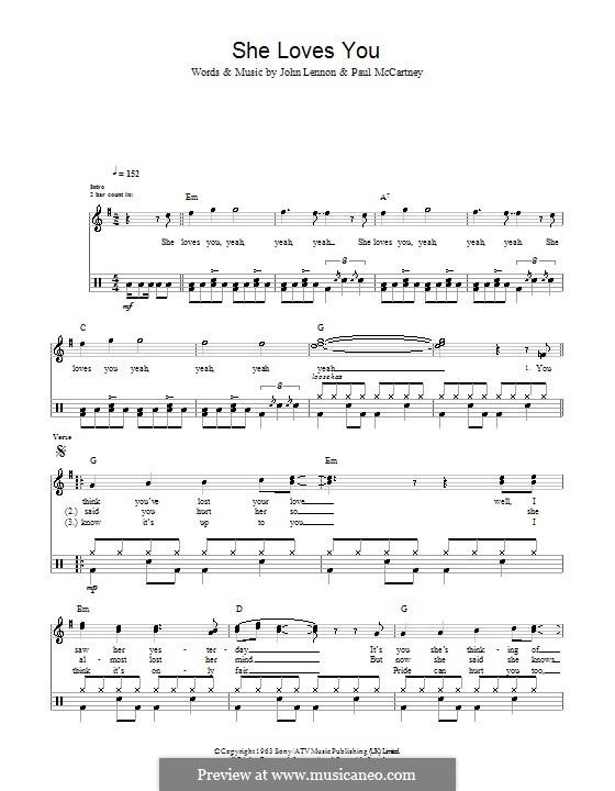 She Loves You (The Beatles): For drums by John Lennon, Paul McCartney