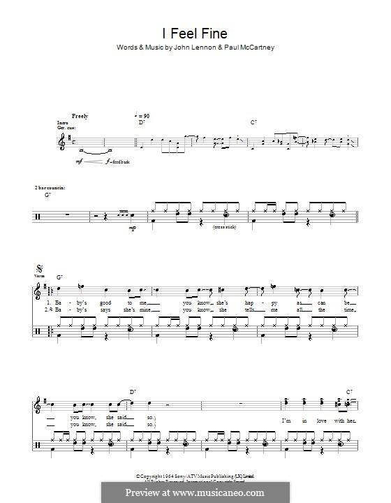 I Feel Fine (The Beatles): For drums by John Lennon, Paul McCartney