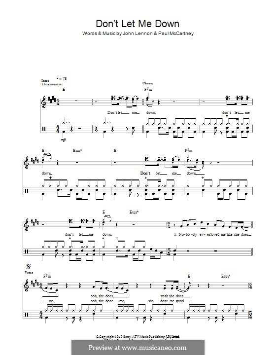 Don't Let Me Down (The Beatles): For drums by John Lennon, Paul McCartney