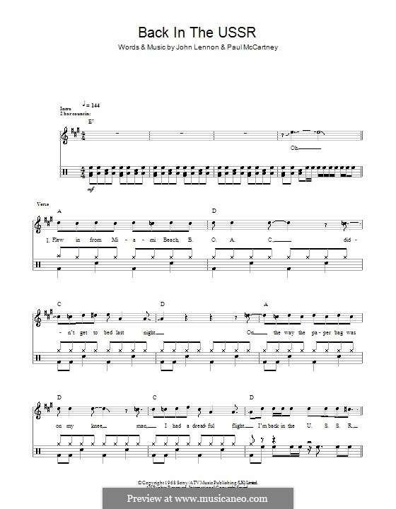 Back in the USSR (The Beatles): For drums by John Lennon, Paul McCartney