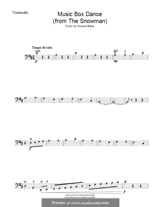 Music Box Dance: For cello by Howard Blake