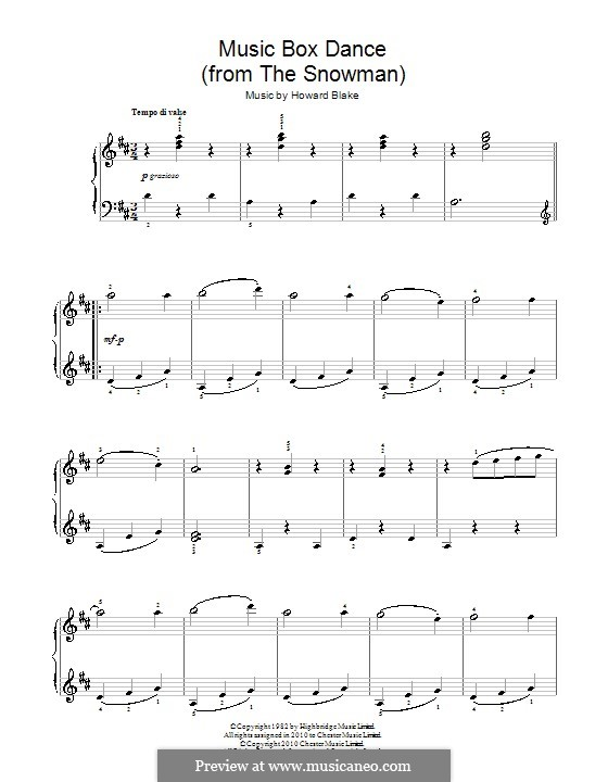 Music Box Dance: For easy piano by Howard Blake