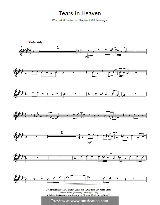 Tears in Heaven: For flute by Eric Clapton, Will Jennings
