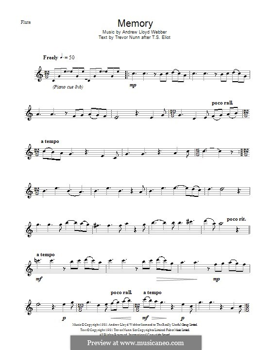 Memory (from Cats): For flute by Andrew Lloyd Webber