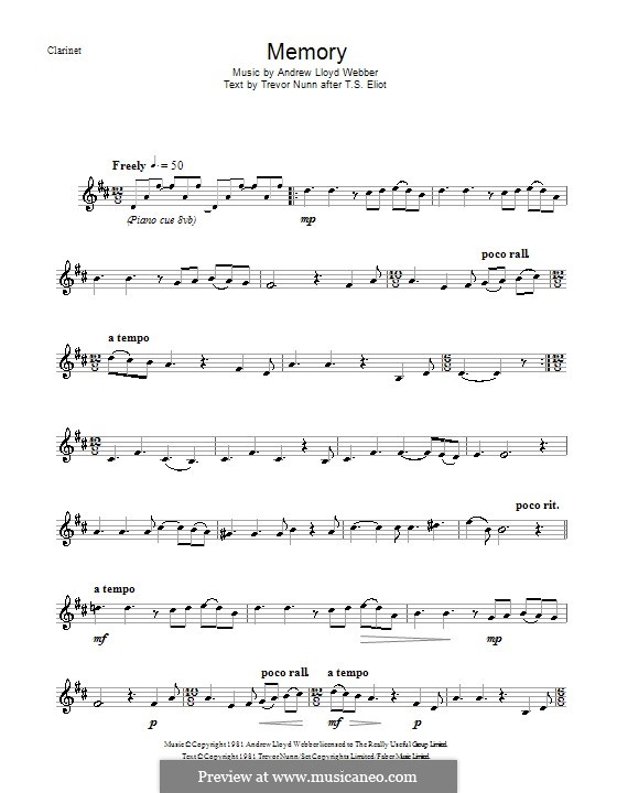 Memory (from Cats): For clarinet by Andrew Lloyd Webber