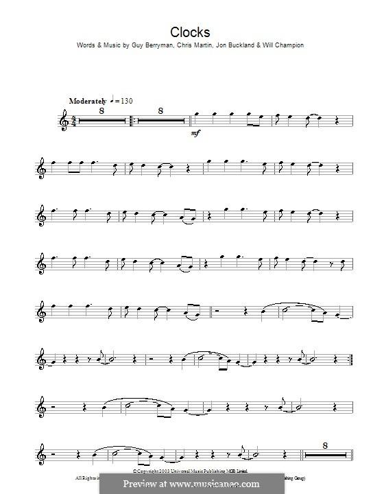 Clocks (Coldplay): For clarinet by Chris Martin, Guy Berryman, Jonny Buckland, Will Champion