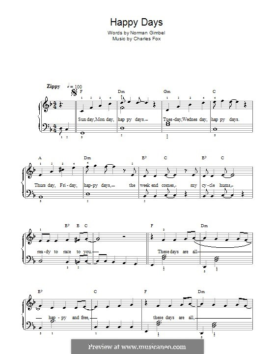 Happy Days: For easy piano by Charles Fox
