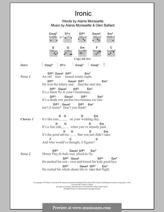 Ironic: Lyrics and chords by Alanis Morissette, Glen Ballard