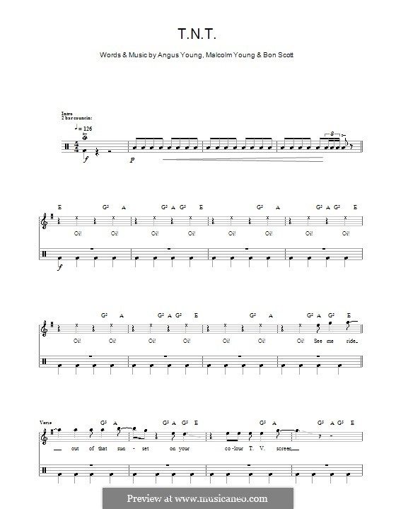 Tnt Acdc By A Young B Scott M Young Sheet Music On