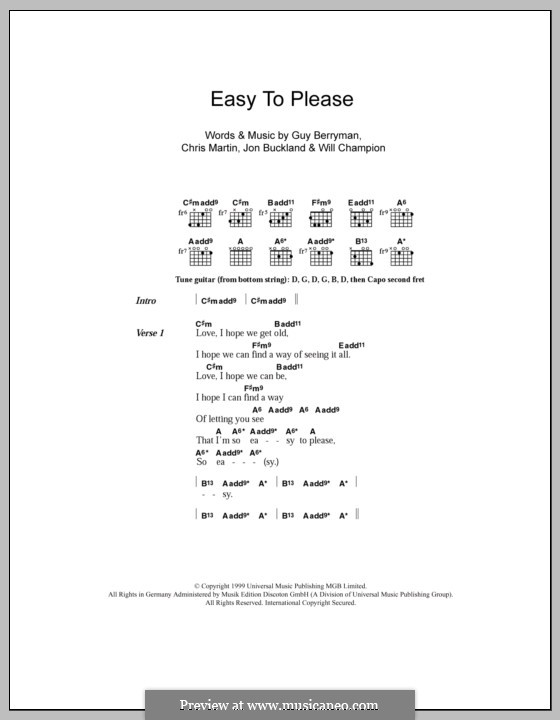 Easy to Please (Coldplay): Lyrics and chords by Chris Martin, Guy Berryman, Jonny Buckland, Will Champion