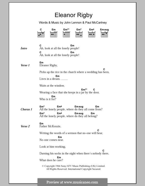 Eleanor Rigby (The Beatles): Lyrics and chords by John Lennon, Paul McCartney