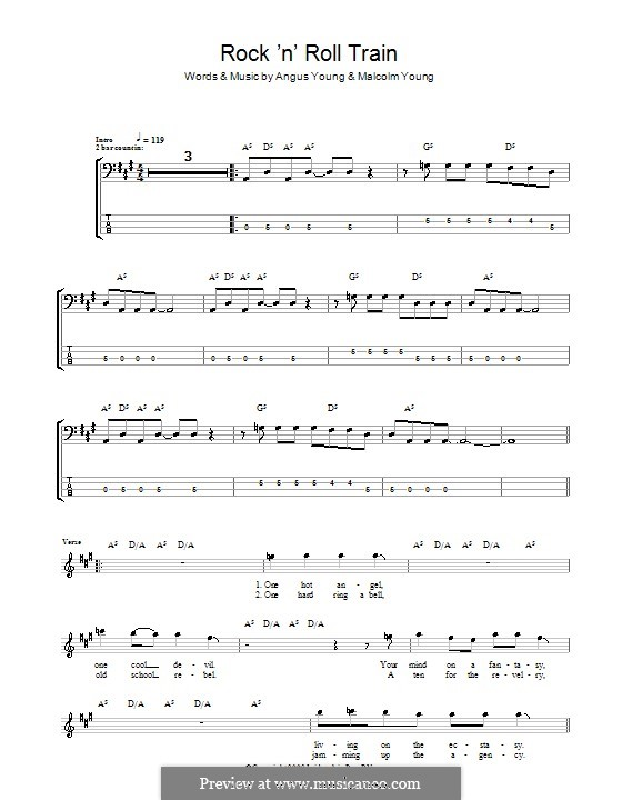 Rock 'n' Roll Train (AC/DC): For bass guitar with tab by Angus Young, Malcolm Young