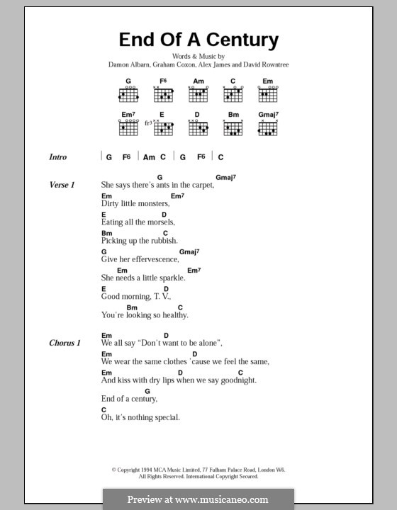 End of a Century (Blur): Lyrics and chords by Alex James, Damon Albarn, David Rowntree, Graham Coxon