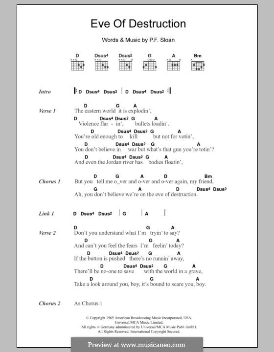 Eve of Destruction (Barry McGuire): Lyrics and chords by P.F. Sloan, Steve Barri