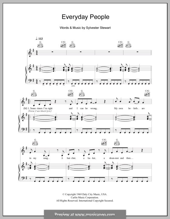 Everyday People (Sly and The Family Stone): For voice and piano (or guitar) by Sylvester Stewart