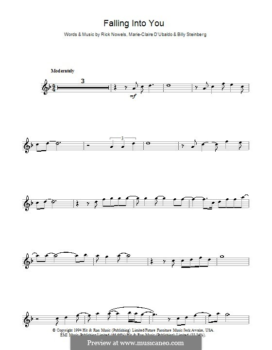 Falling Into You (Celine Dion): For flute by Billy Steinberg, Marie-Claire D'Ubaldo, Rick Nowels
