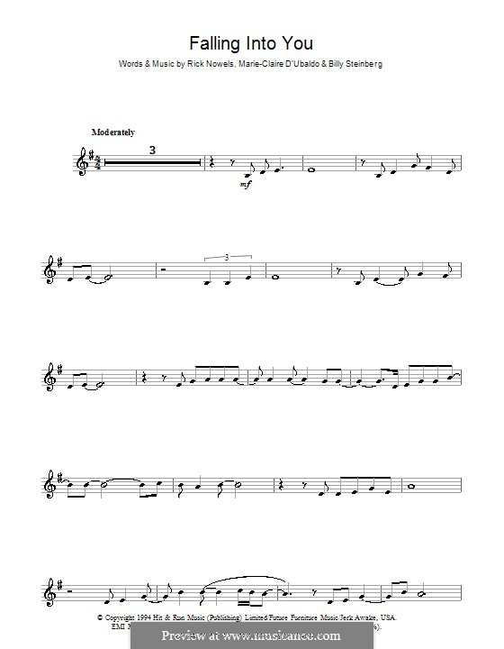 Falling Into You (Celine Dion): For clarinet by Billy Steinberg, Marie-Claire D'Ubaldo, Rick Nowels