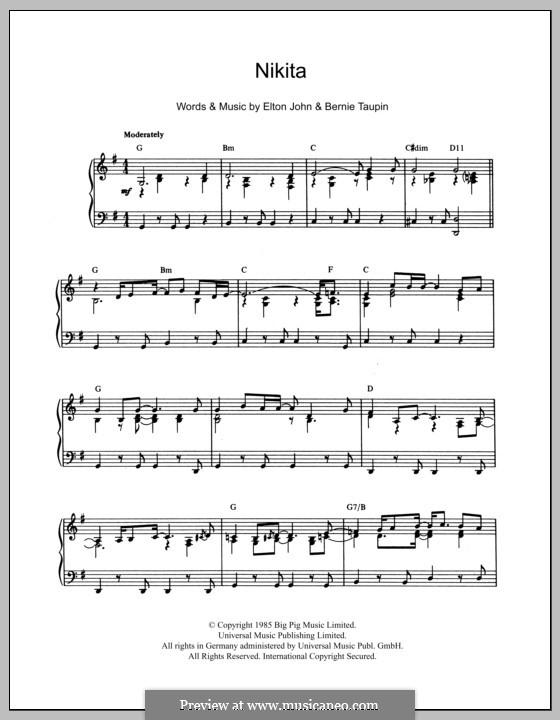 Nikita: For piano by Elton John