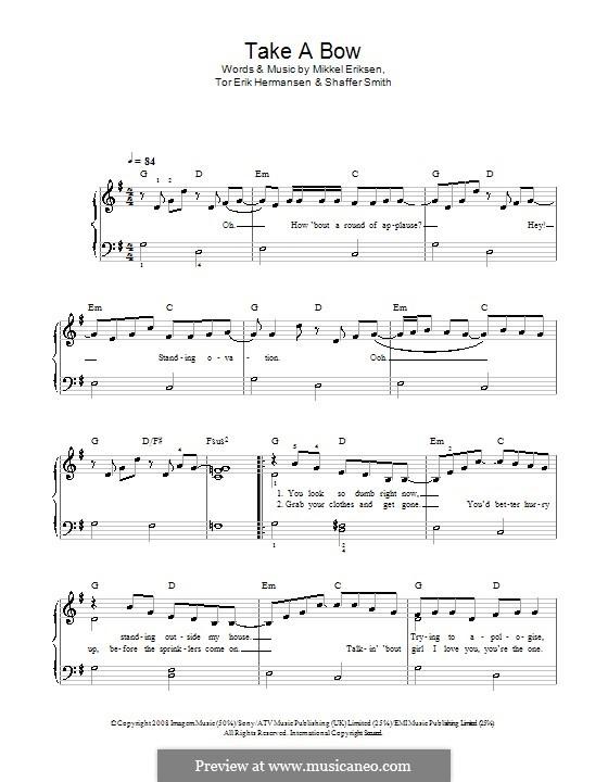 Take a Bow (Rihanna): For easy piano (G Major) by Mikkel Storleer Eriksen, Ne-Yo, Tor Erik Hermansen