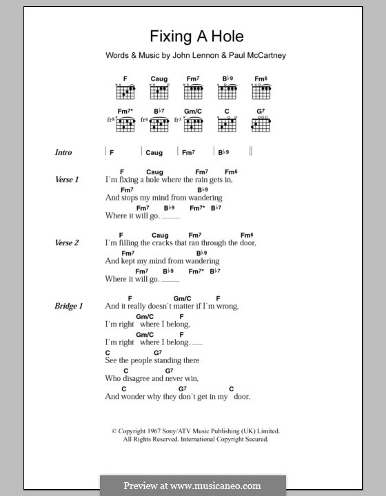 Fixing a Hole (The Beatles): Lyrics and chords by John Lennon, Paul McCartney