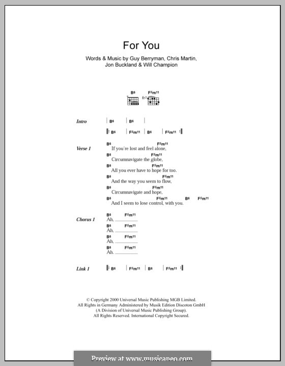 For You (Coldplay): Lyrics and chords by Chris Martin, Guy Berryman, Jonny Buckland, Will Champion