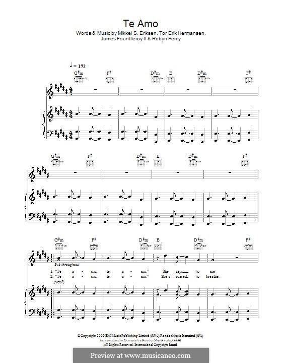 Te Amo: For voice and piano (or guitar) by James Fauntleroy II, Mikkel Storleer Eriksen, Rihanna, Tor Erik Hermansen