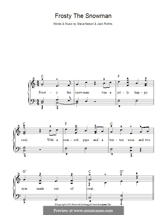 Frosty the Snow Man: For piano (The Ronettes) by Jack Rollins, Steve Nelson