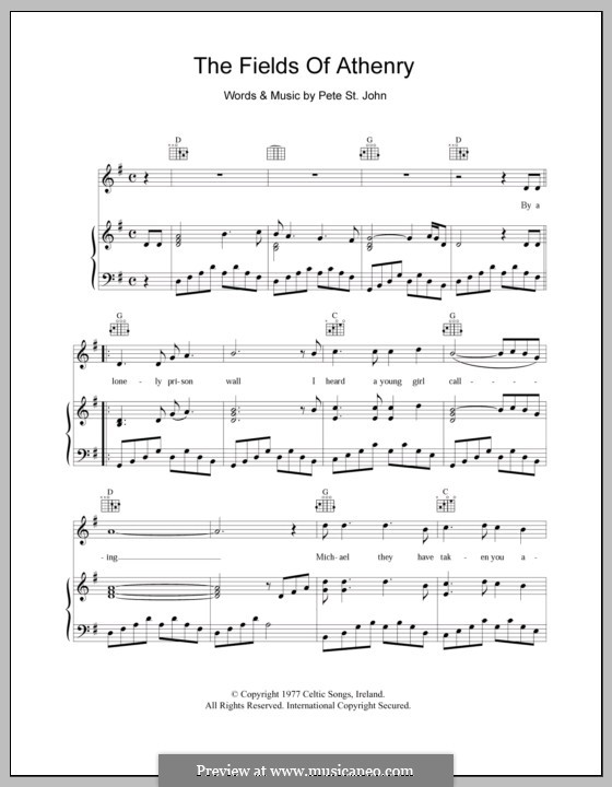 The Fields of Athenry: For voice and piano (or guitar) by Pete St. John