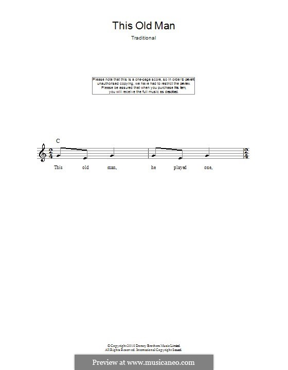 This Old Man: Melody line, lyrics and chords by folklore