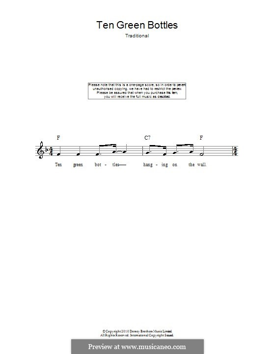 Ten Green Bottles: Melody line, lyrics and chords by folklore