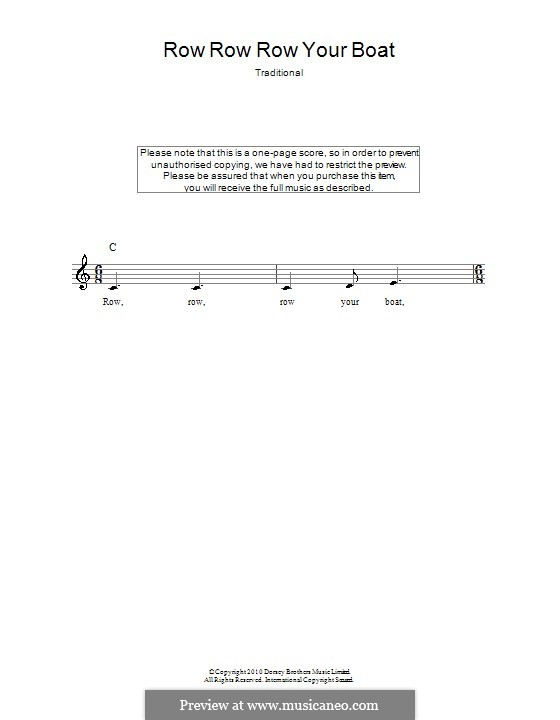 Row, Row, Row Your Boat: Melody line, lyrics and chords by folklore