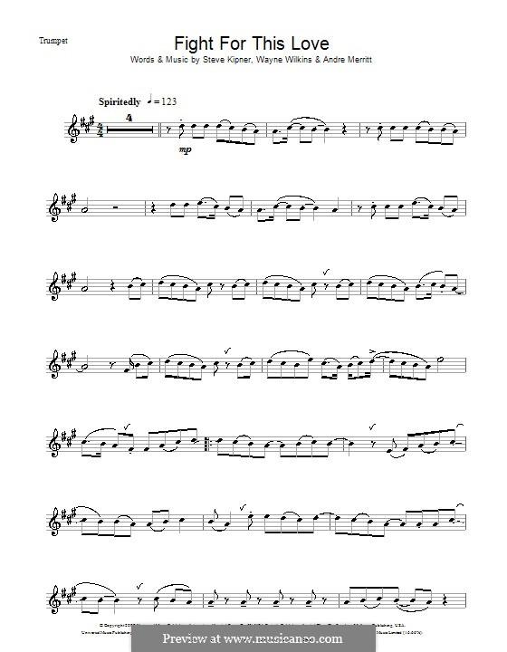 Fight for This Love (Cheryl Cole): For trumpet by Andre Merritt, Stephen Alan Kipner, Wayne Wilkins