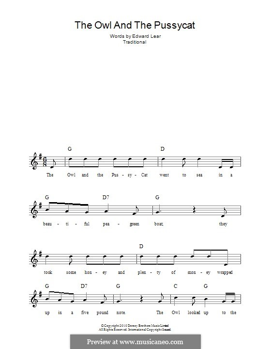 The Owl and The Pussycat: Melody line, lyrics and chords by folklore