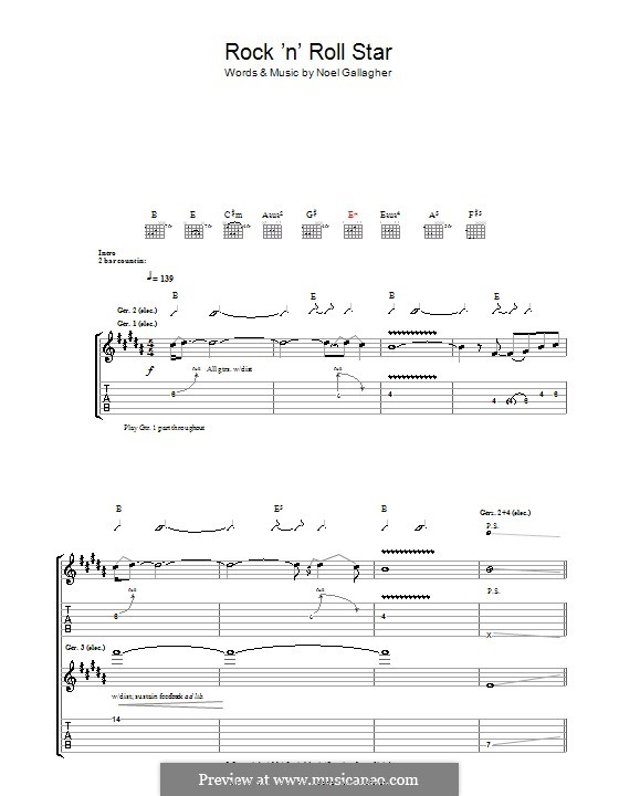 rock 39 n 39 roll star oasis by n gallagher sheet music on musicaneo. Black Bedroom Furniture Sets. Home Design Ideas