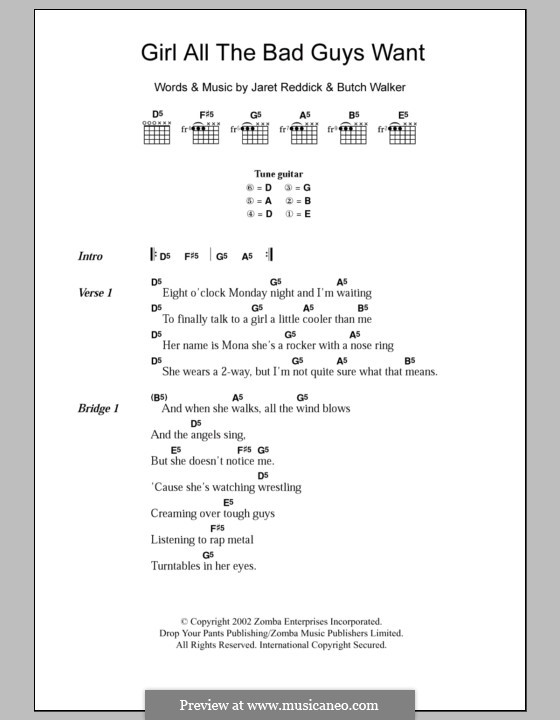 Girl All the Bad Guys Want (Bowling for Soup): Lyrics and chords by Butch Walker, Jaret Reddick