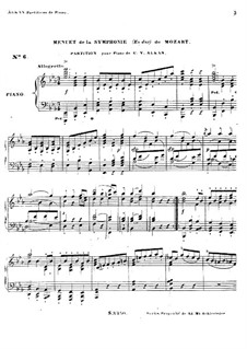 Symphony No.39 in E Flat Major, K.543: Minuet, for piano by Wolfgang Amadeus Mozart