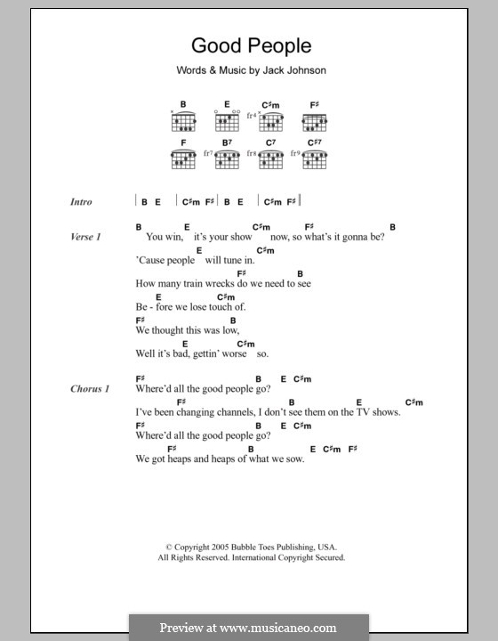Good People By J Johnson Sheet Music On Musicaneo