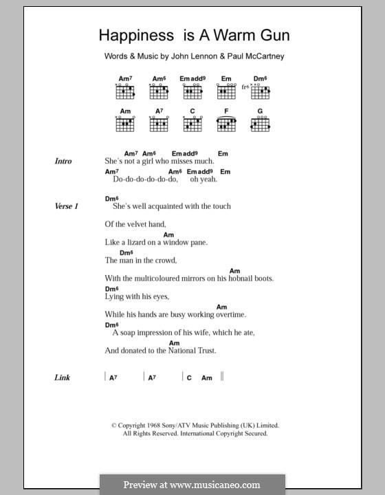 Happiness is a Warm Gun (The Beatles): Lyrics and chords by John Lennon, Paul McCartney