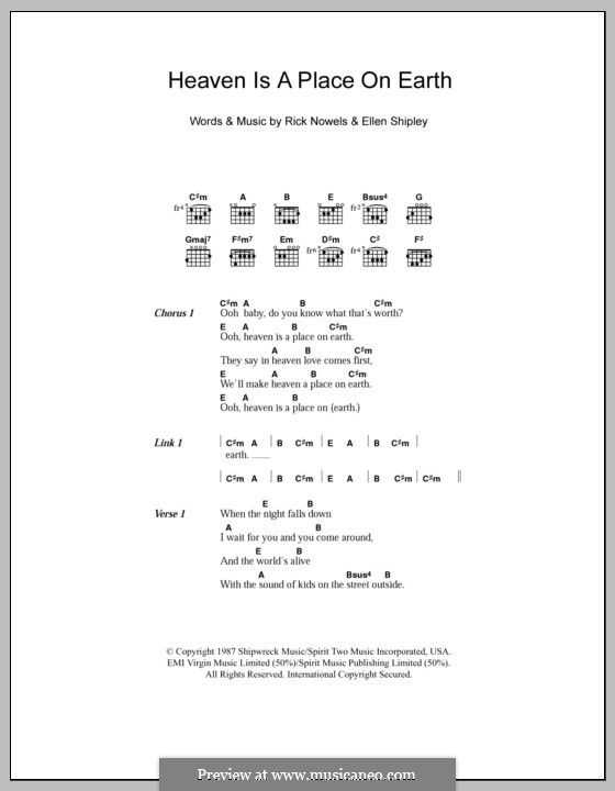 Heaven is a Place on Earthv: Lyrics and chords by Ellen Shipley, Rick Nowels