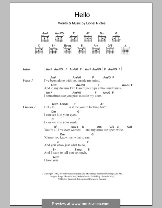 Hello: Lyrics and chords by Lionel Richie