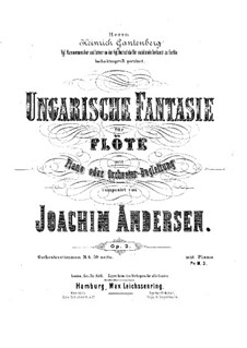 Hungarian Fantasia, Op.2: For flute and piano – score, solo part by Joachim Andersen