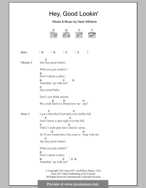 Hey, Good Lookin': Lyrics and chords  by Hank Williams
