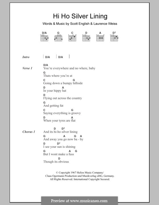 Hi Ho Silver Lining (Jeff Beck): Lyrics and chords by Lawrence Weiss, Scott English