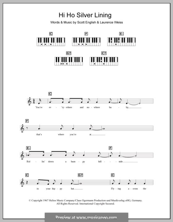 Hi Ho Silver Lining (Jeff Beck): For keyboard by Lawrence Weiss, Scott English