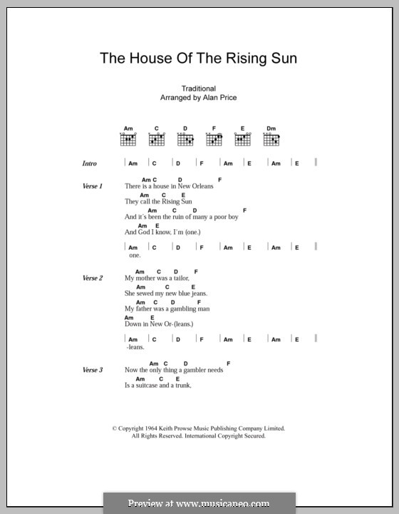 The House of the Rising Sun (The Animals): Lyrics and chords by folklore