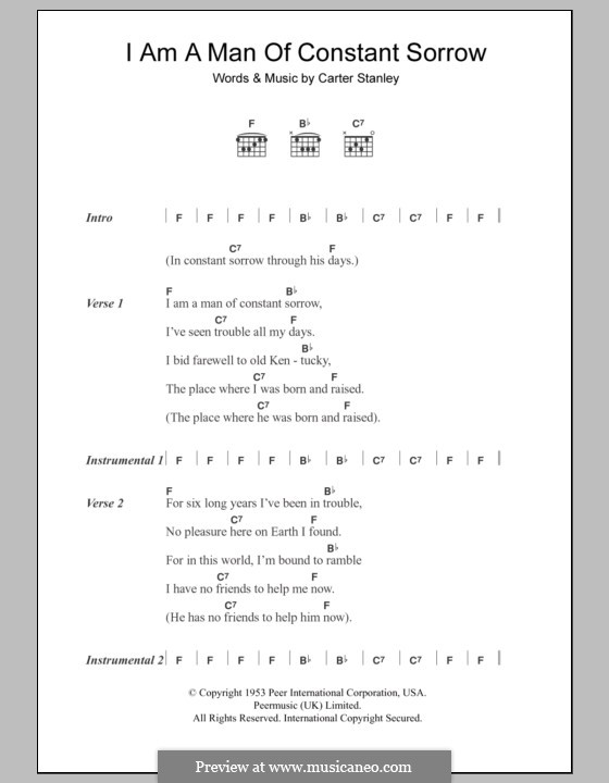 I am a Man of Constant Sorrow (The Soggy Bottom Boys): Lyrics and chords by Carter Stanley